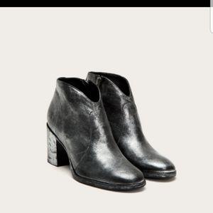 Frye Nora Metallic Silver Side Zip Ankle Booties